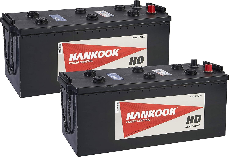 2x Hankook 68032 12V 180Ah Batterie de Commercial Pour Tracteur Camion Bateau 512x220x216mm