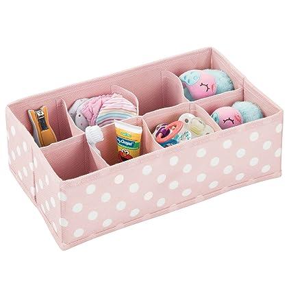 mDesign Caja de almacenaje para habitaciones infantiles o baños – Organizador de armarios con 8 compartimentos