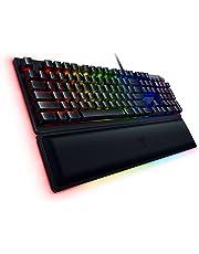 Razer Huntsman Elite Gaming Keyboard: Opto-Mechanical Key Switches - Instant Actuation - Chroma RGB Lighting - Magnetic Plush Wrist Rest - Dedicated Media Keys & Dial - Matte Black