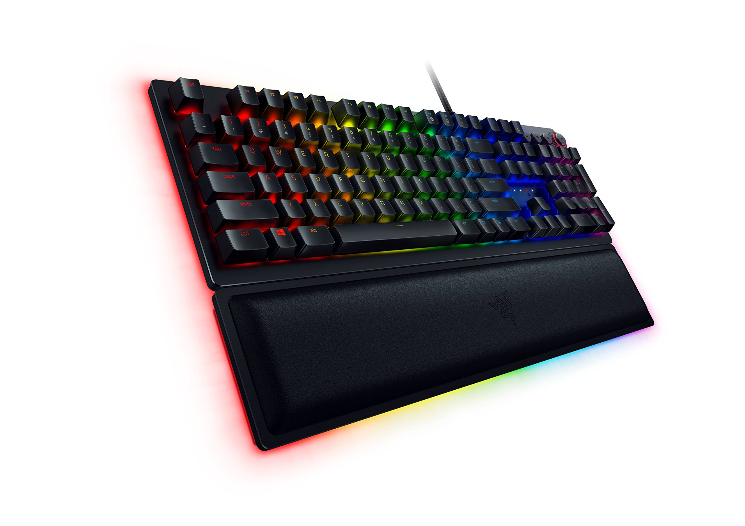 Razer Huntsman Elite Gaming Keyboard: Opto-Mechanical Key Switches - Instant Actuation - Chroma RGB Lighting - Magnetic Plush Wrist Rest - Dedicated Media Keys & Dial - Matte Black by Razer