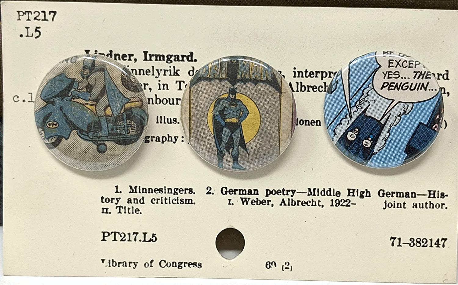 * in stock and ready to ship * Set of 3 vintage upcycled Batman comic book pins