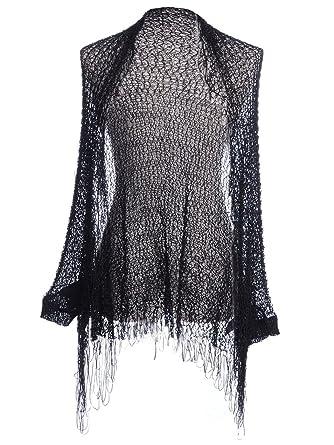 2305b6b9aa3f Anna-Kaci Womens Black Gothic Loose Knit Net Long Fringe Shawl Cardigan:  Amazon.co.uk: Clothing