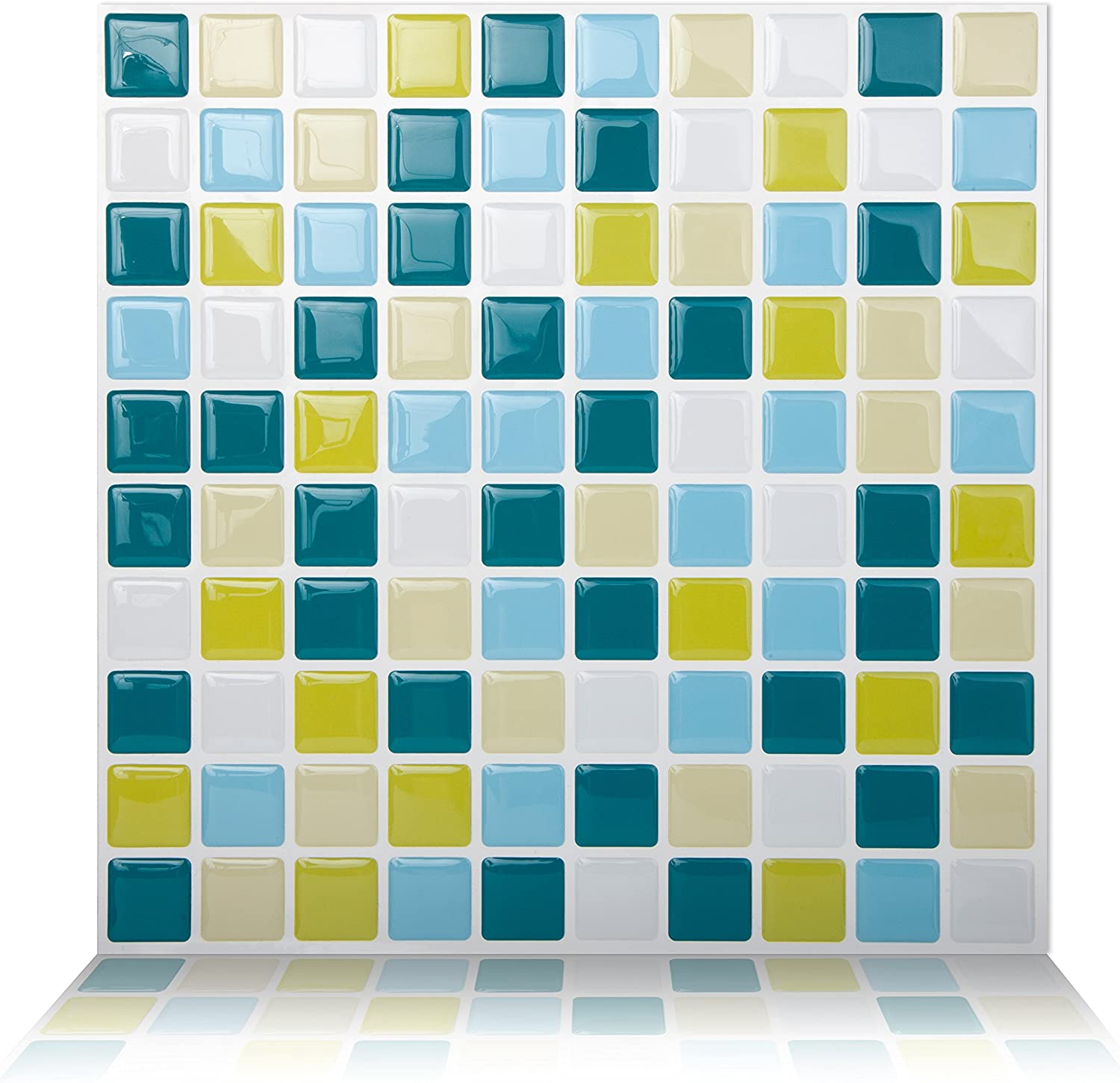 Tic Tac Tiles Peel and Stick Self Adhesive Removable Stick On Kitchen Backsplash Bathroom 3D Wall Tiles in Square Design (Peacockgreen, 5)