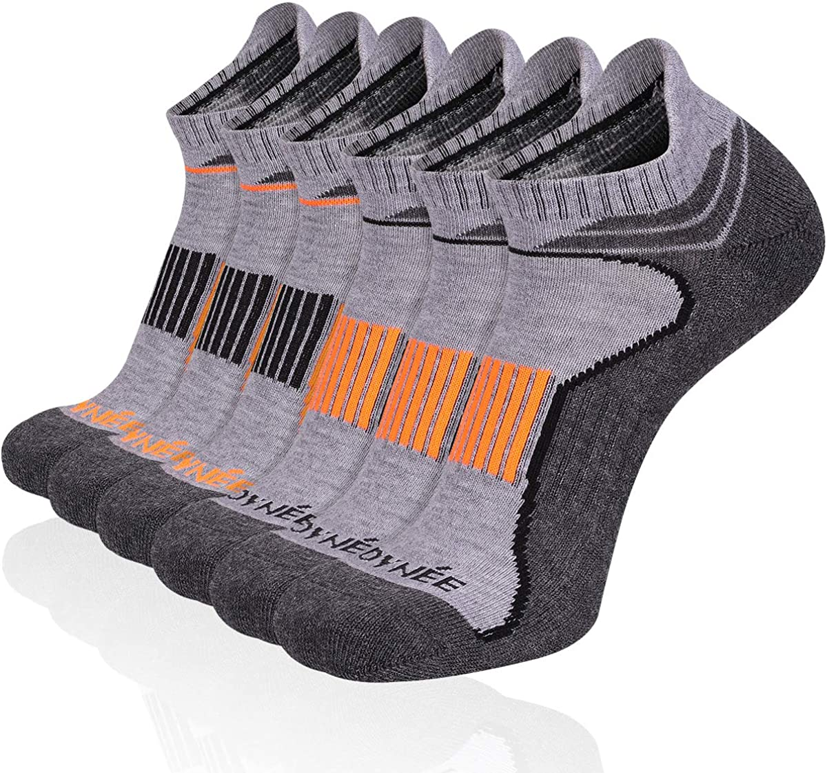 JOYNÉE 6 Pack Mens Ankle Socks Low Cut Athletic Cushioned Running Tab Socks