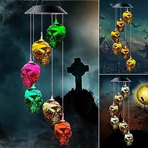 Skeleton Skull String Light Wind Chimes Skulls Solar Halloween Skull Decor Lights Solar Wind Chimes Skull Bowl with 6 LED Skull Shaped Charcoal Lights, Waterproof Holiday Lights for Indoor Halloween,