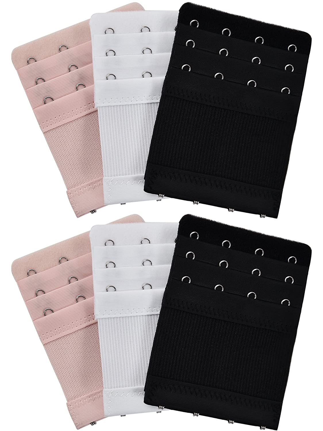 3 Colors 3 Rows x 4 Hooks 6 Pieces Womens Bra Extenders Elastic Stretchy Bra Extension Strap