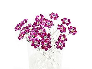 Amazon.com: Fucsia Flor de vidrio pasadores de pelo ideal ...