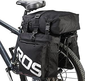 ArcEnCiel Bike Bag Bicycle Panniers Water-Resistant Large Capacity 3 in 1 Rack Trunks Rear Seat Carrier Pack - Rain Cover Included