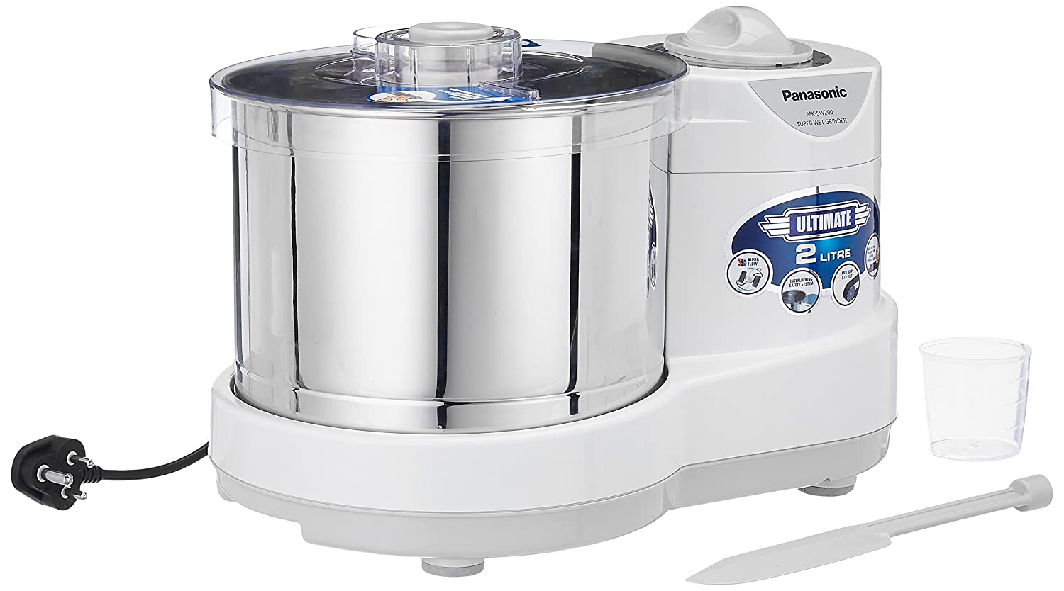 Panasonic MK-SW200 PLW 240-Watt Wet Grinder, White