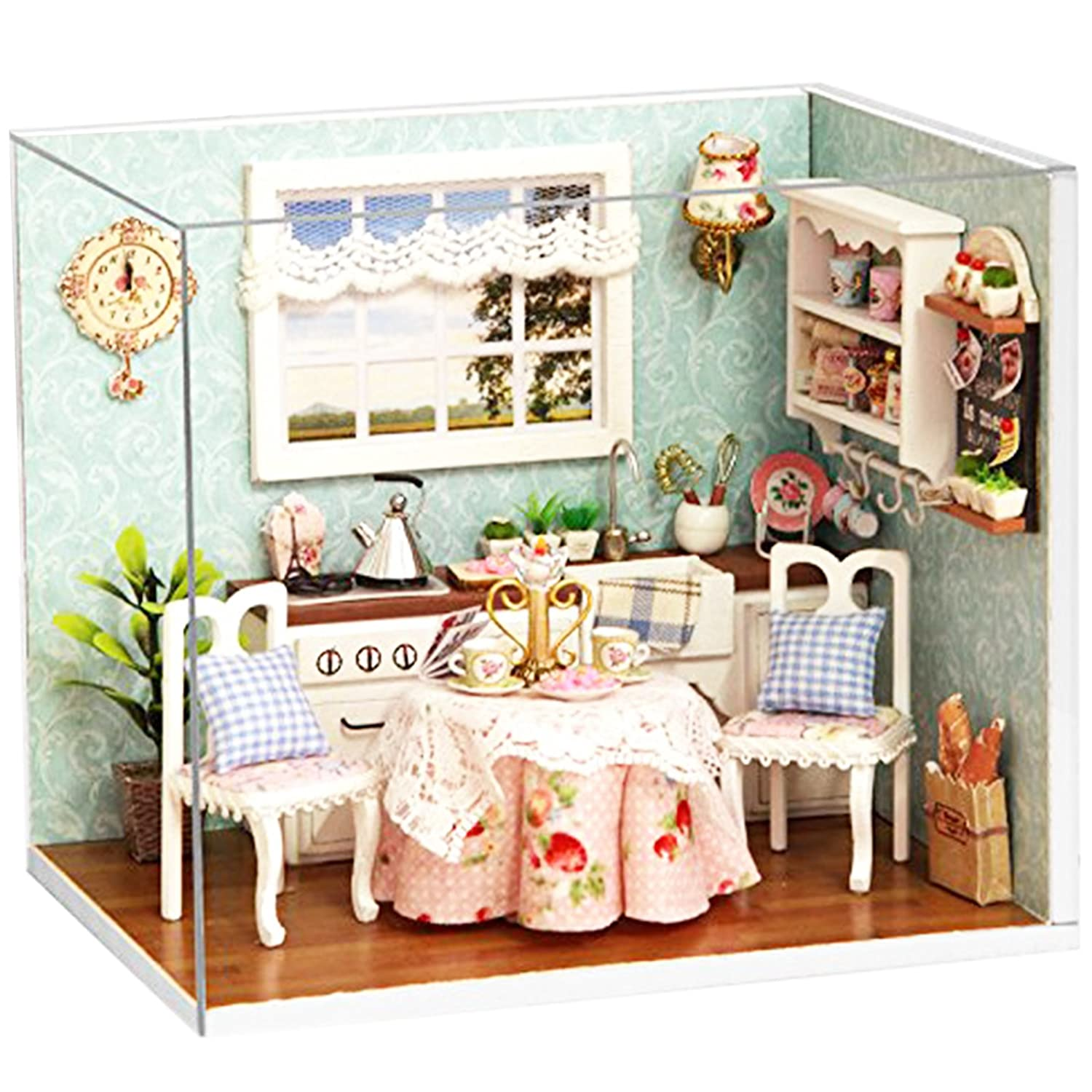Ogrmar Wooden Dollhouse Miniatures DIY House Kit With Cover and Led Light-Happiness Kitchen