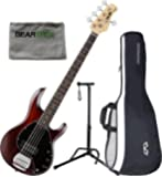 Sterling by Musicman Ray5 WS/M Walnut Satin 5-String Bass Guitar Maple Neck w/ Gig Bag, Cloth, and Stand