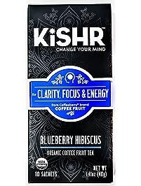 Organic Coffee Fruit Tea (Blueberry Hibiscus) Herbal Tea for Clarity, Focus and Energy, 10 Bags - KISHR