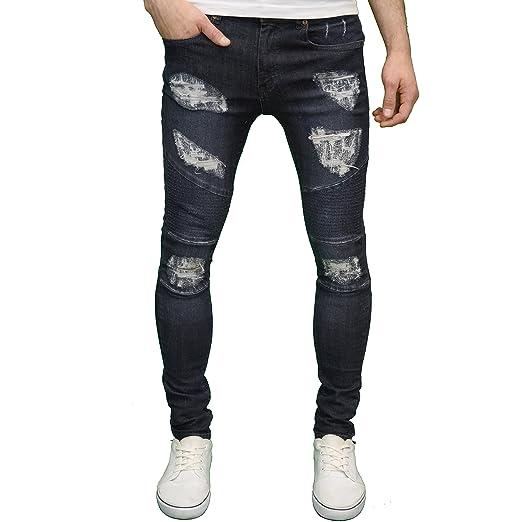 b3534444979d 526 Designer Stretch Super Skinny Ripped Abraised Distressed Cut Biker Jeans