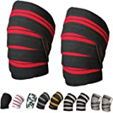 "Power Weight Lifting Knee Wraps Lifter Lifting Wraps 74"" long and 3"" wide Elasticated Knee Straps Strengthen Training Workout Home gym Training wrap"