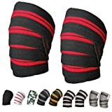 """Power Weight Lifting Knee Wraps Lifter Lifting Wraps 74"""" long and 3"""" wide Elasticated Knee Straps Strengthen Training Workout Home gym Training wrap"""
