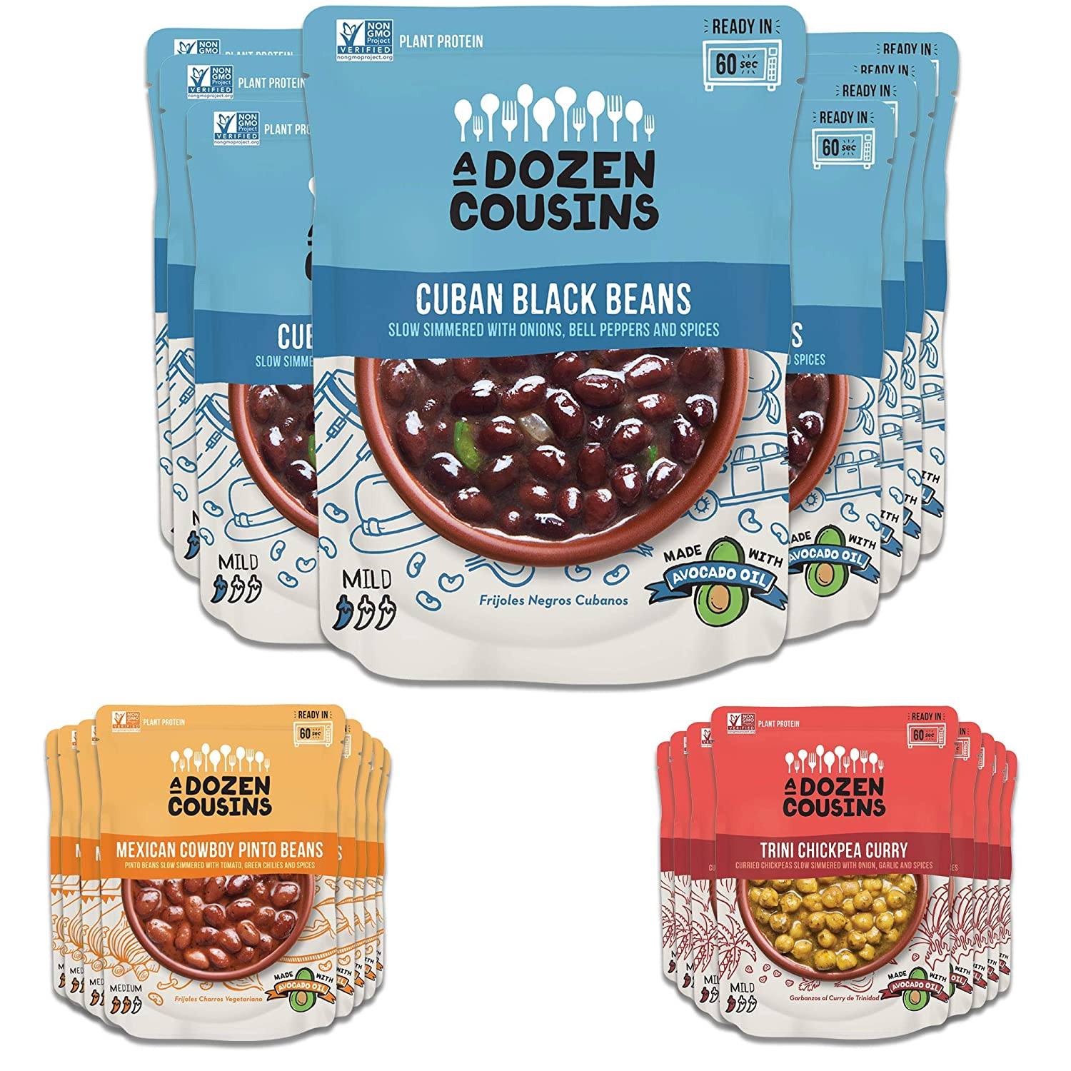 A Dozen Cousins Cuban Black Beans, Mexican Cowboy Beans, Trini Chickpea Curry - Ready to Eat, Vegan and Non-GMO Seasoned Beans Made with Avocado Oil (24-pack)
