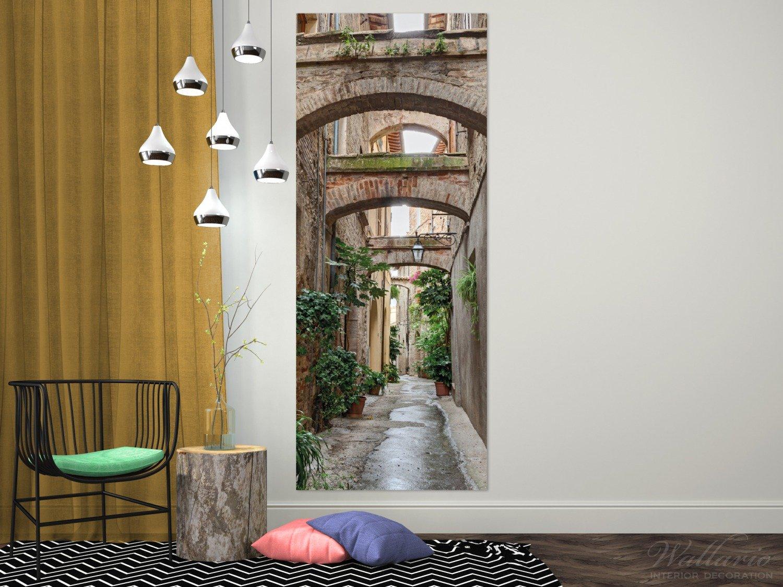 Wallario Wandgarderobe aus Glas Glas Glas in Größe 50 x 125 cm in Premium-Qualität, Motiv  Grüne Italienische Gasse - mit Alten Bögen   7 Kleiderhaken Zum Aufhängen von Jacken 841369