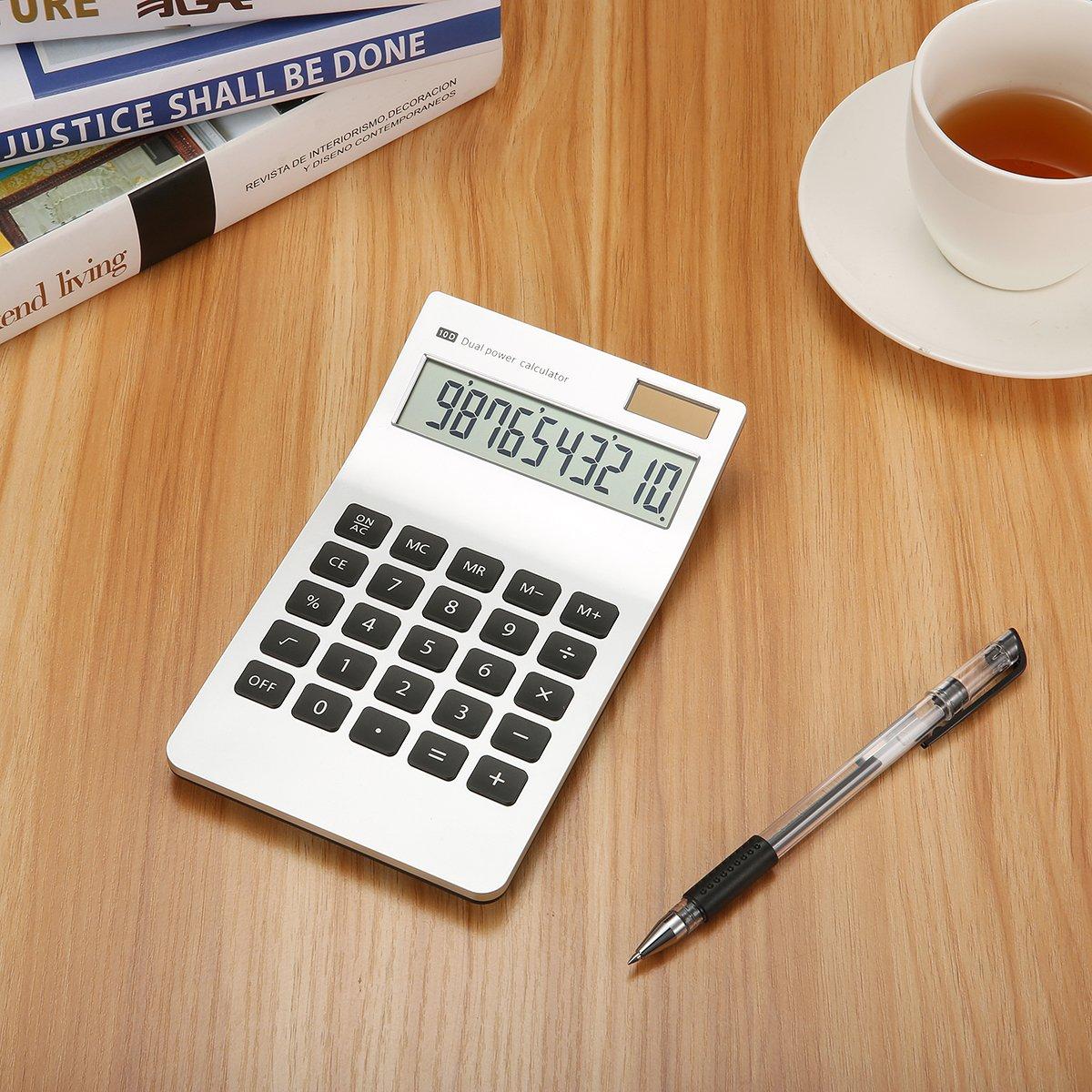 Caveen Basic Calculator 10 Digits Business Desktop Calculator Solar Power Standard Function Financial Calculator Silver