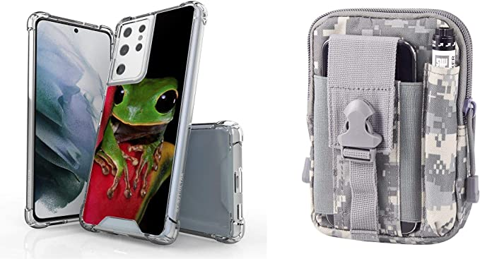 BC AquaFlex Series Bumper Case for Samsung Galaxy S21 Ultra with Tactical EDC MOLLE Pouch and Touch Tool - Frog/ACU Pixel Camo
