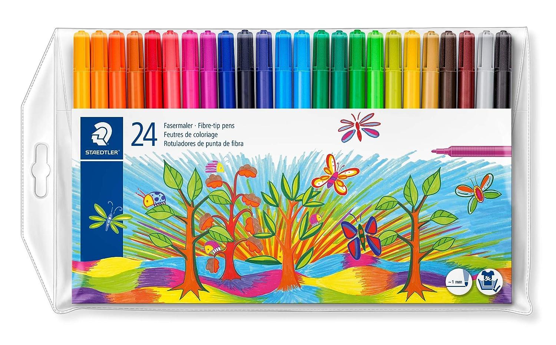 Staedtler 326 WP20 ST Noris Set de 20 Feutres r/ésistant pour coloriage de surfaces moyennes Couleurs Brillantes pointe moyenne 1 mm