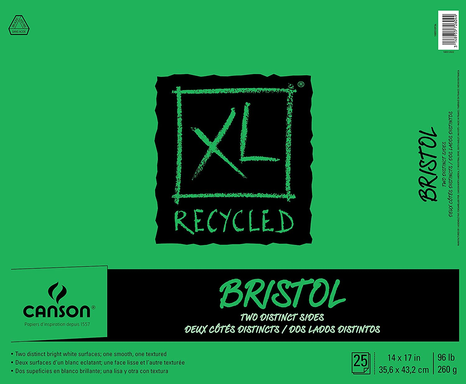 """Canson XL Series Recycled Bristol Pad, 14"""" x 17"""", Fold-over Cover, 25 Sheets (100510934)"""