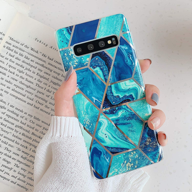 Herbests Compatibile con Cover Samsung Galaxy S10 Silicone Ultrasottile Morbido TPU Protettiva Case Cover Cuciture di Placcatura Marmo Antiurto Slim Soft Custodia Cover,Marmo-1