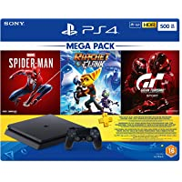 Sony Playstation 4 500GB Slim Console Hits Bundle with Spiderman, Ratchet & Clank, Gran Turismo Sport and 3 Months PS…