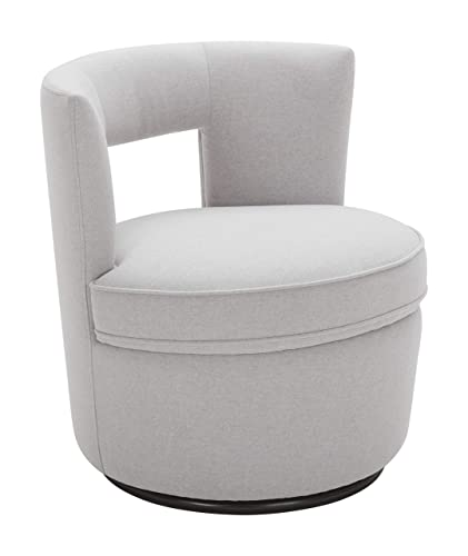 Rivet Slade Contemporary Foam-Padded Living Room Swivel Chair, 27 W, Felt Gray