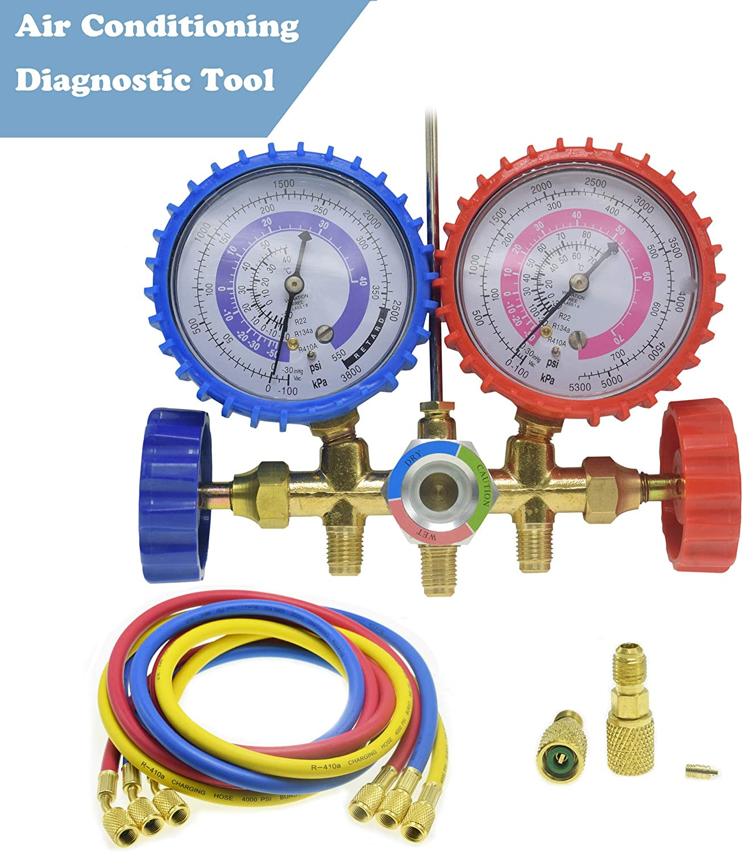 "LEIMO AC Diagnostic Manifold Gauge Set for Freon Charging, Fits R410A R22 R404 Refrigerants, 1/4"" Thread Hose Set 60"" with 2 Quick Coupler-r410a Manifold Gauge Set"