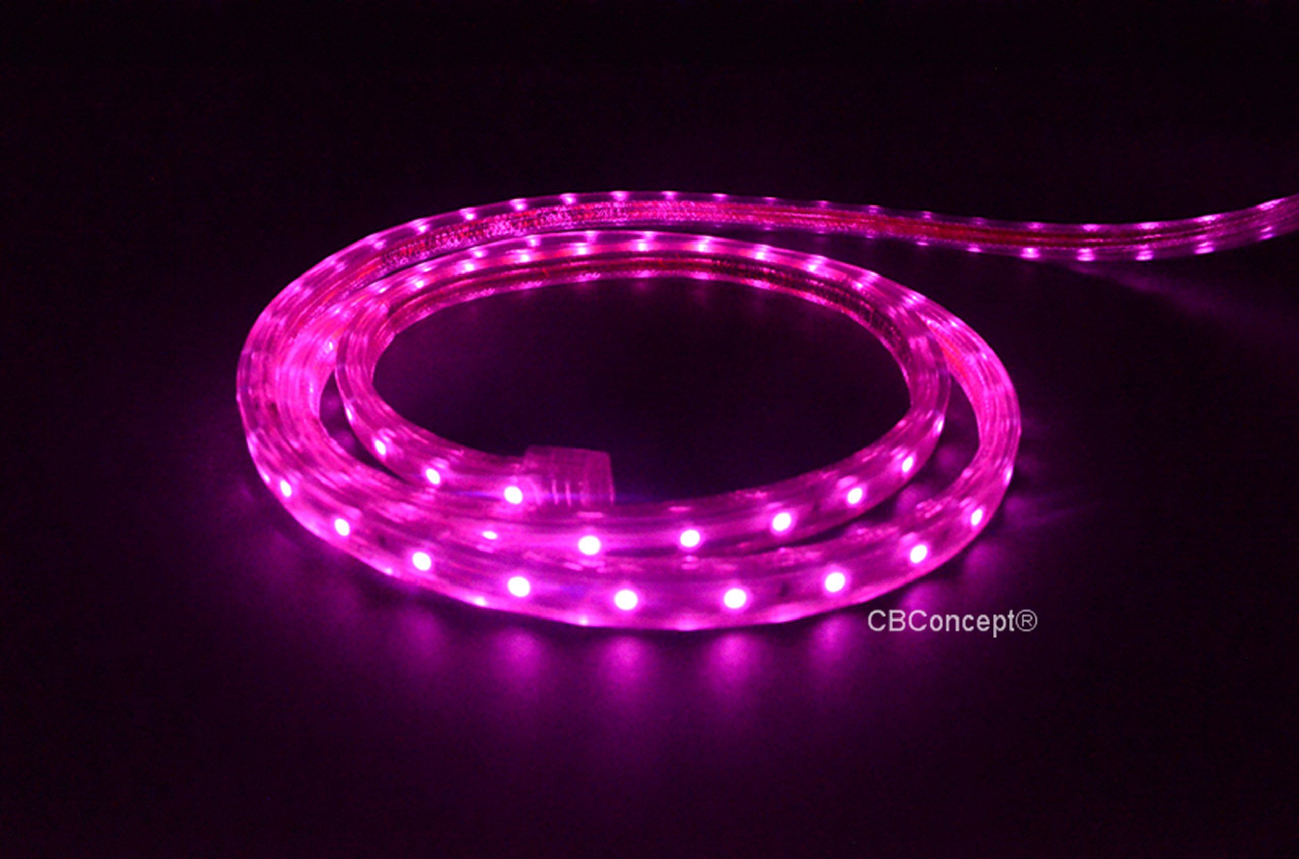 CBConcept UL Listed, 120 Feet, 13000 Lumen, Pink, Dimmable, 110-120V AC Flexible Flat LED Strip Rope Light, 2190 Units 3528 SMD LEDs, Waterproof IP65, Accessories Included, Size: 0.45 Inch Width X 0.28 Inch Thickness- [Christmas Lighting, Indoor / Outdoor