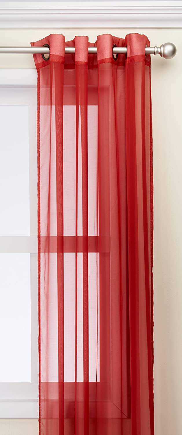 Kashi Home Leah Collection Window Sheer / Curtain / Panel 55x 84 Lightweight Solid Sheer Design in Burgundy - Single Panel, Grommet Top Hanging Panel SP044234