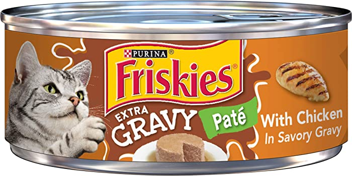 Purina Friskies Gravy Pate Wet Cat Food, Extra Gravy Pate With Chicken in Savory Gravy - (24) 5.5 oz. Cans