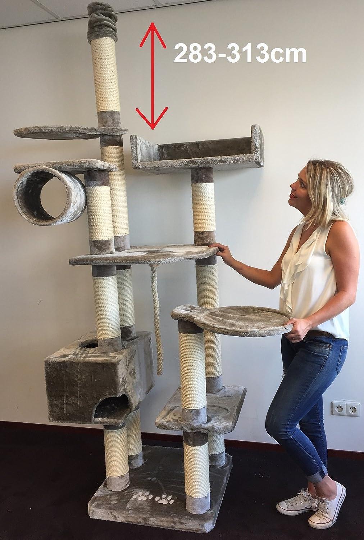 kratzbaum catdream extreme plus 310cm grau extra hoch sisalst mme 12cm speziell f r gro e und. Black Bedroom Furniture Sets. Home Design Ideas