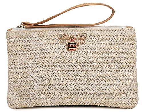 427e92bae5cde Caistre Women's Straw Zipper Woven Clutch Bag Bohemian Summer Beach ...
