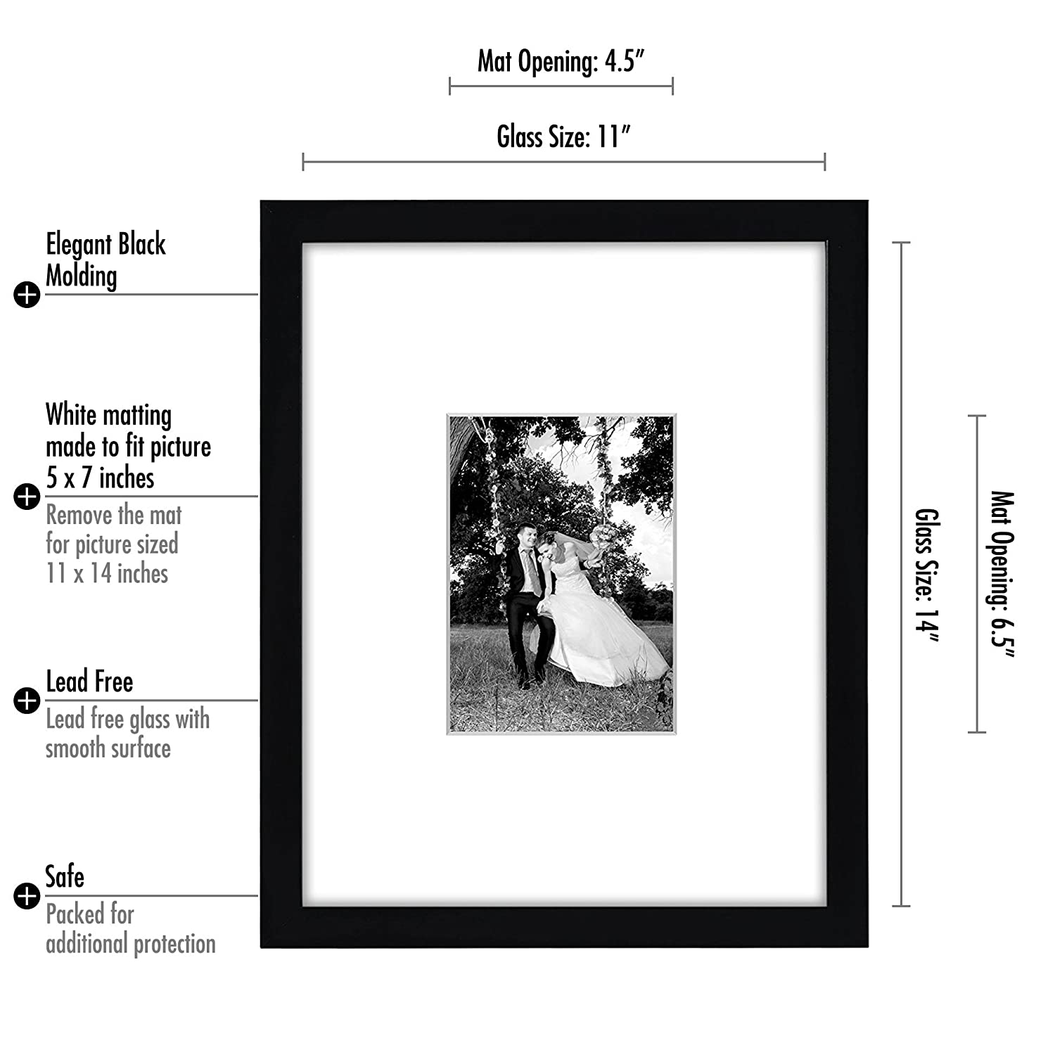 Amazon.com - 11x14 Black Wall Picture Frame - Matted to Fit Pictures ...
