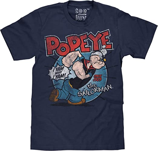 Popeye Sailor Man Camouflage Camo Cartoon Tv Characters Black Tshirt Tee
