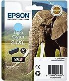 Epson C13T24354012 Cartuccia A.R. RS Claria Photo HD 24XL/Elefante, Ciano Chiaro