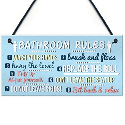 Green Toilet Rules Metal Wall Sign Plaque Art Shabby Chic loo Funny Joke
