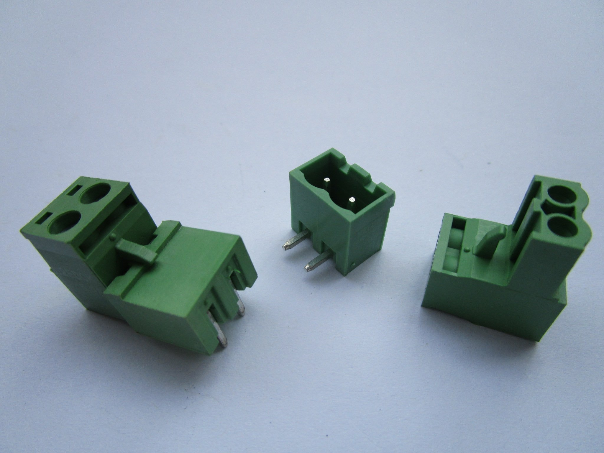 400 Pcs Pitch 5.08mm Close Angle 2 Way/pin Screw Terminal Block Connector w/ Angle-pin Green Color Pluggable Type