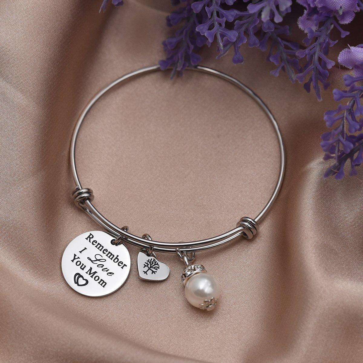 Remember I Love You Mom Bangle Bracelet (White) by LParkin (Image #3)