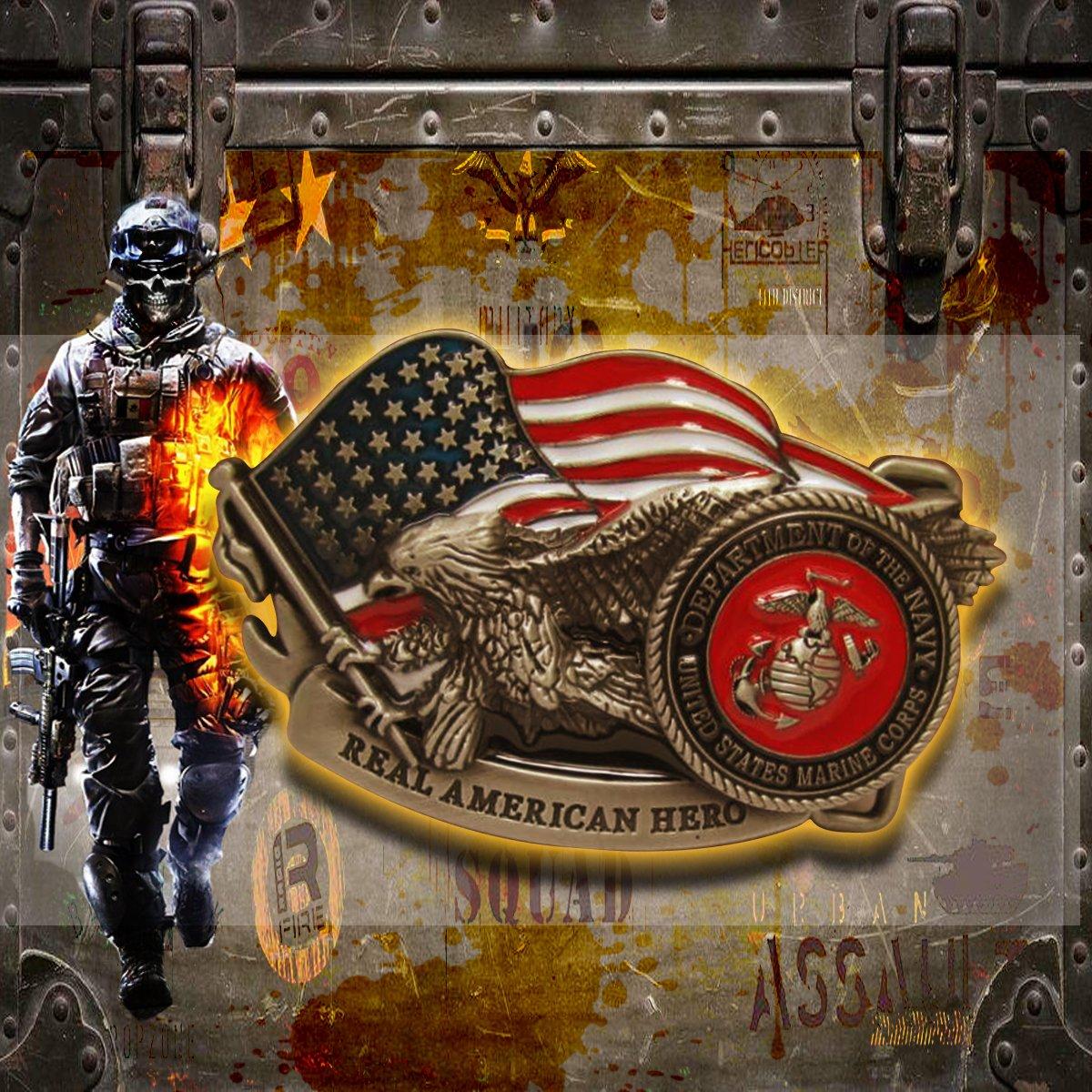 US ARMY Mens Vintage Color Original Belt Buckle Gurtel schnalle US Marines Real American Hero