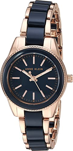 Amazon.com: Anne Klein Women's Rose Gold-Tone and Navy Blue Resin Bracelet Watch: Watches