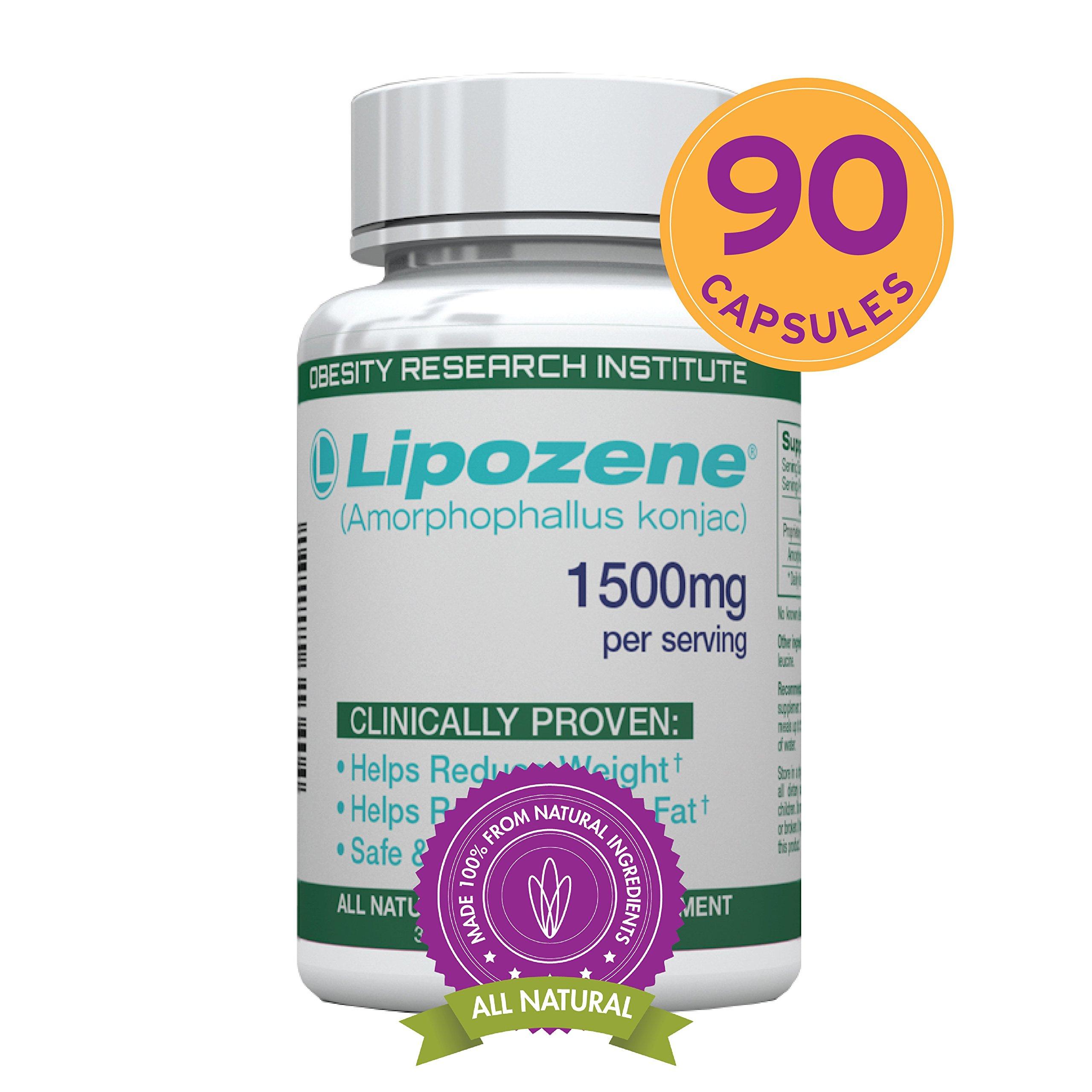 Lipozene Green Diet Pills -90 Veggie Capsules, All Natural Weight Loss Supplement - Appetite Suppressant and Control - - No Stimulants, No Jitters