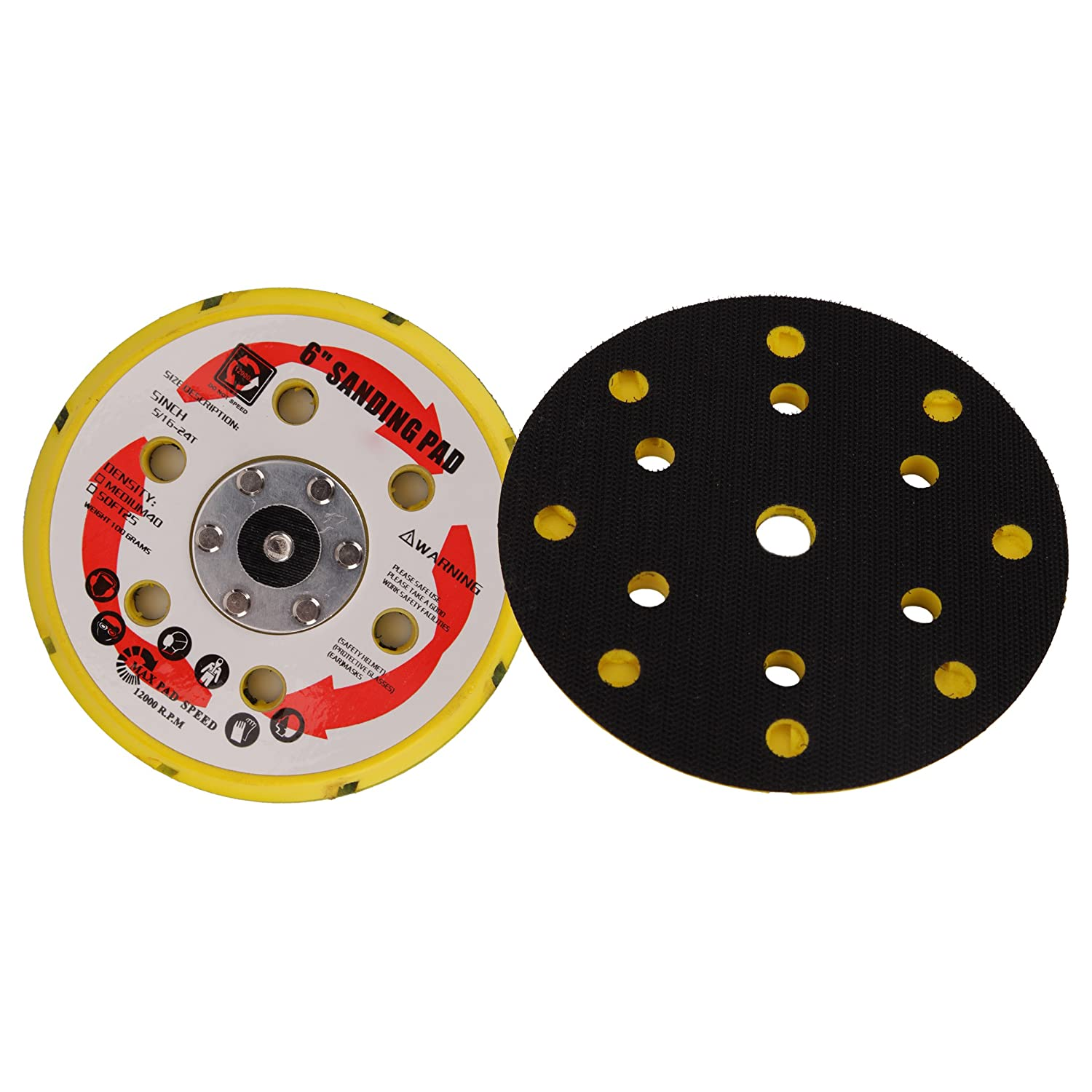 Valianto Color Black 6-inch Hook&Loop Backing Pads Polishing Disc with 15 Hole,Pack of 5PCS