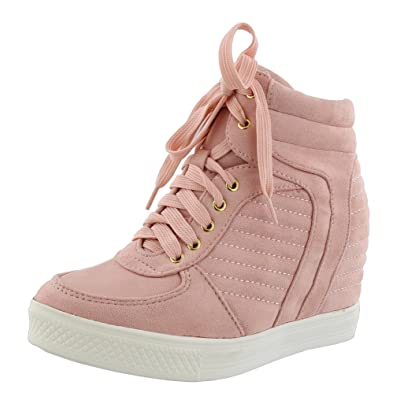 TOP Moda Women's Closed Round Toe High Top Lace-Up Fashion Sneaker Wedge (8 B(M) US, Blush) | Shoes