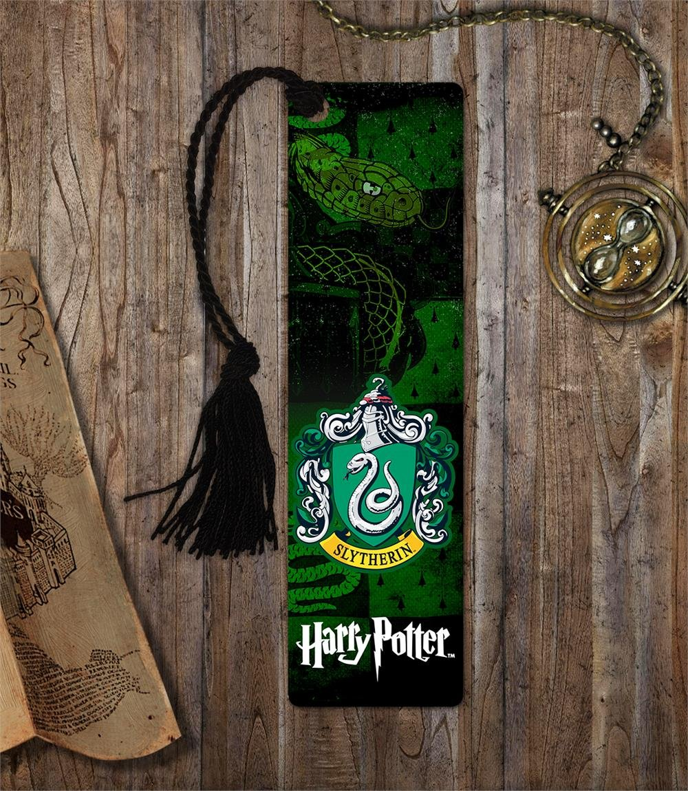 graphic regarding Printable Harry Potter Bookmarks called Harry Potter Bookmark - Slytherin Space - with tel