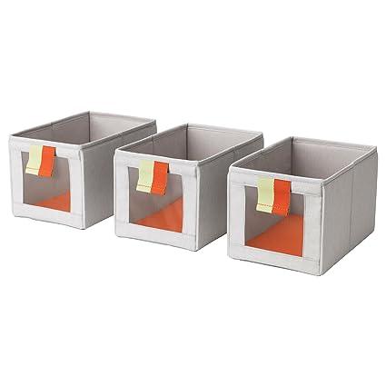 SLAKTING Pack de Tres Rejilla Frontal Tela Plegable Cajas de Almacenamiento Tire pestañas IKEA