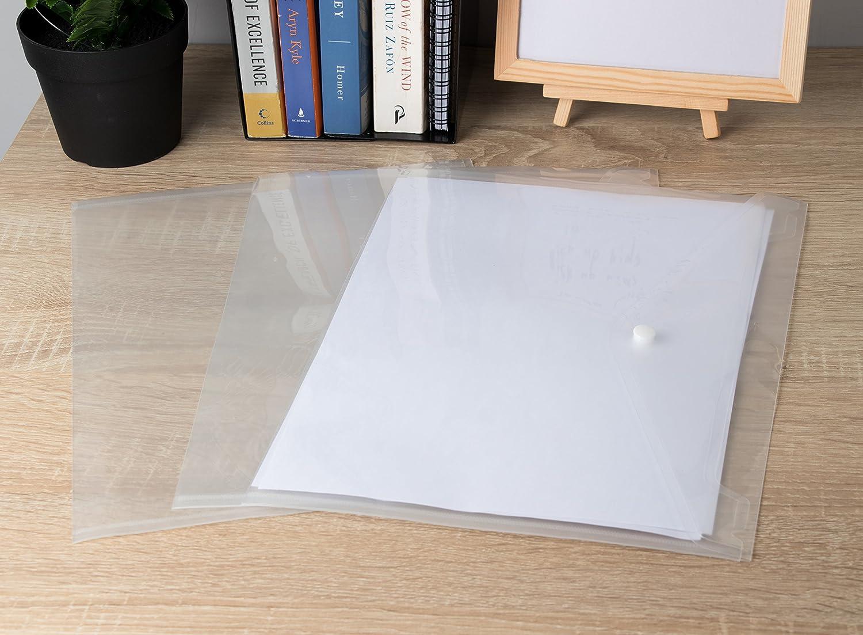 Conjunto de 25 sobres transparentes de plástico para tamaño A4.
