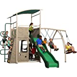 Backyard Discovery Castle Grey Metal Swing Set and Outdoor Playground