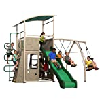 9. Backyard Discovery Castle Grey Metal Swing Set and Outdoor Playground